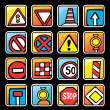Square button with road signs — Stock Vector