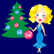 Stock Vector: Elegant blonde in blue dress decorated with Christmas tree
