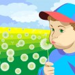 A little boy blowing on a dandelion in the meadow — Stock Vector