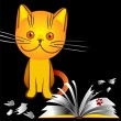 Stock Vector: Orange kitten bully broke book