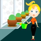 Blonde woman watering cactuses — Stok Vektör