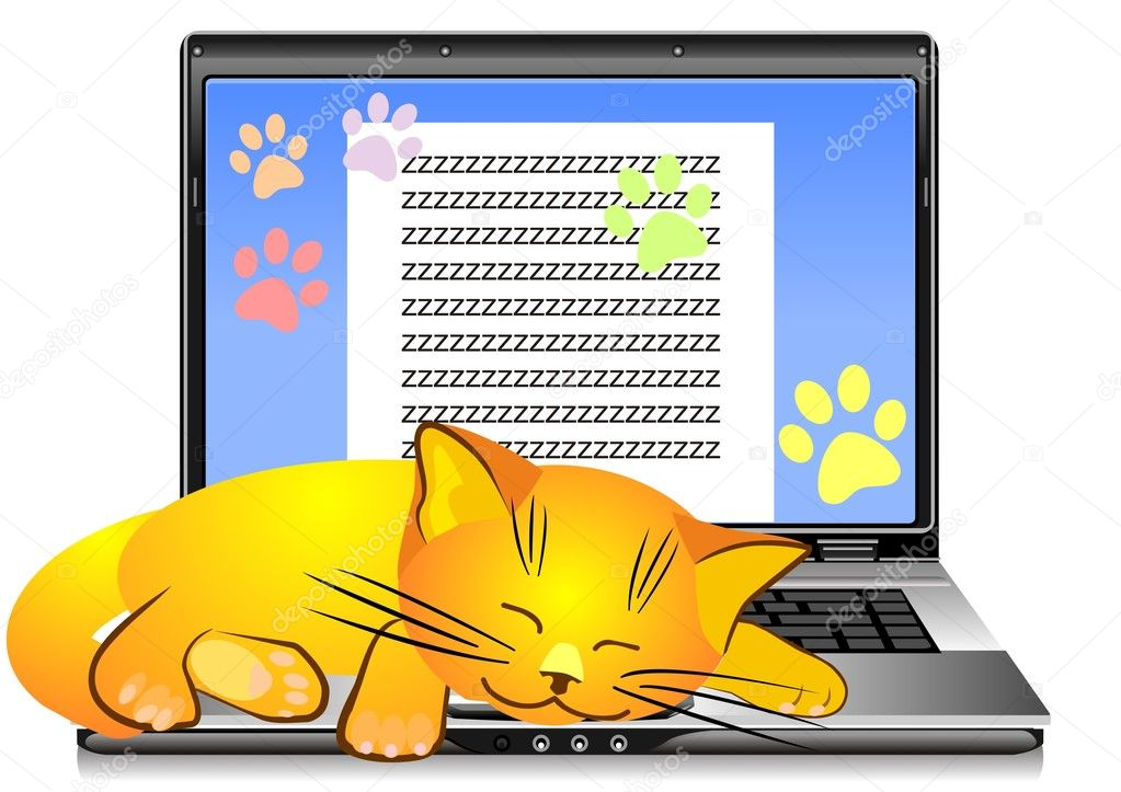 Ginger cat asleep on the keyboard open silver laptop on a white background — Stock Vector #4574578
