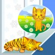 Stock vektor: Vector, winter dreams ginger cat