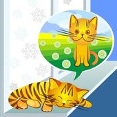 Vector, winter dreams ginger cat — Stok Vektör