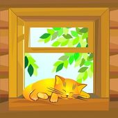 Vector, red cat on a summer day sleeping on the windowsill — Stock Vector