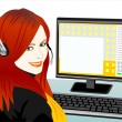 Vector young beautiful girl telephone operator — Stock Vector