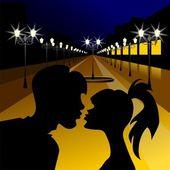 Vector evening meeting of lovers — Stock Vector