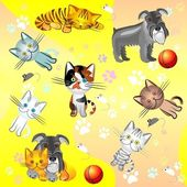 Vector seamless image on a pet theme — Stock Vector