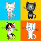Vector the British cats of various colors — Stock Vector