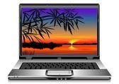 Vektor öffnen silber laptop auf weißem hintergrund — Stockvektor