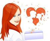 The girl received a letter with a declaration of love — Stock Vector