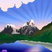 Vector landscape with sunrise over the mountain lake — Stock Vector