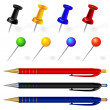 Vector set of pens and pins different colors — Stock Vector