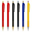 Vector set of pens of different colors — Stock Vector