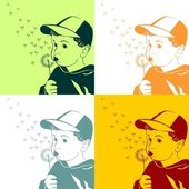 Vector little boy blowing on a dandelion — Vector de stock