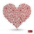 Red pattern heart — Stock Vector