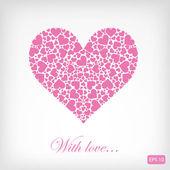 Corazón de color rosa con corazones — Vector de stock