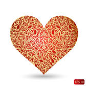 Gold heart with red pattern — Stock Vector