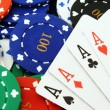 4 Aces on poker chips close up — Stock Photo #4347473