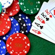 Poker hand full house with chips — Stock Photo