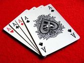 A set of 4 aces playing cards — Stockfoto