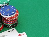 Poker scene - Pair of aces with chips — Stock Photo