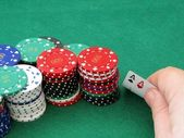 Poker scene - Pair of aces in the hand — Stock Photo