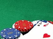 Poker scene - Aces & chips — Stock Photo