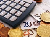 Calculator & euro currency — Stock Photo
