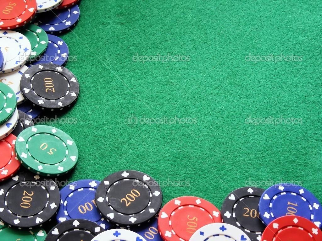 Depositphotos 4347541 poker chips on green felt poker table jpg