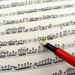 Sheet music with fountain pen - Stock Photo