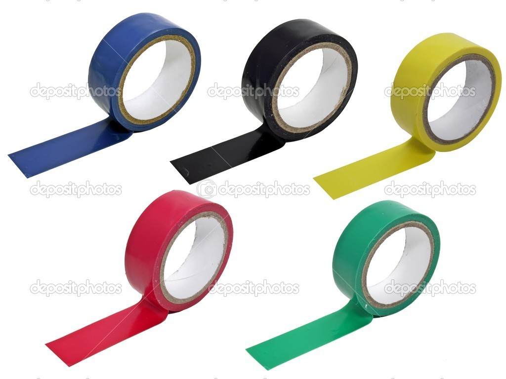 5 rolls of coloured insulating tape on a white background — Stock Photo #4513131