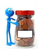 Ben d' Man with jar of money & copy space label — Stock Photo
