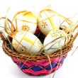 Royalty-Free Stock Photo: Hand painted easter eggs in a basket
