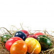 Stock Photo: Easter eggs on grass