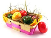 Easter eggs in a basket — Stock Photo
