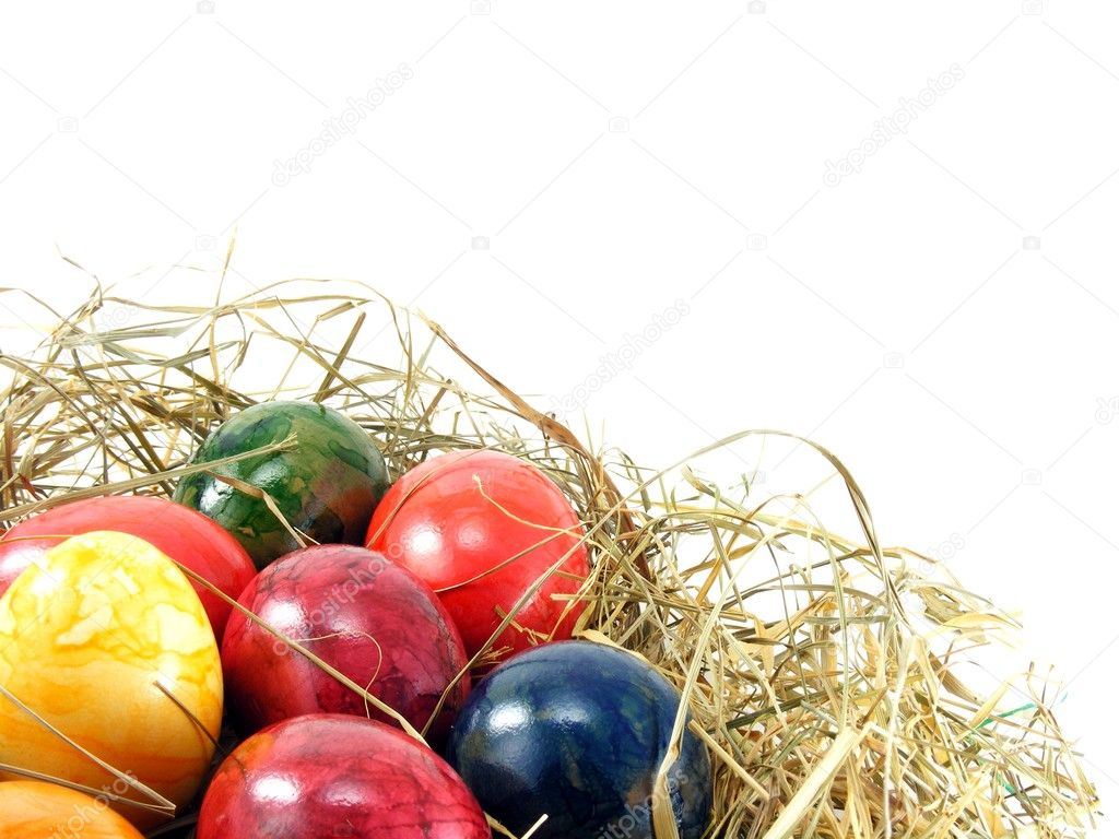 A selection of shiny easter eggs on a grass background — Stock Photo #4743813
