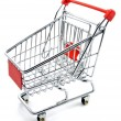 Stock Photo: An empty shopping trolley cart on a white background