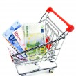 Euro currency in a shopping trolley on a white background — Stock Photo