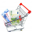Euro currency in a shopping trolley on a white background — Photo