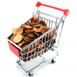 Shopping trolley with money — Stock Photo