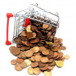 Shopping trolley with money — Stockfoto