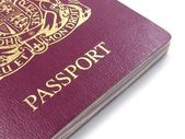 A close up of a British passport on a white background — Stock Photo