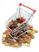 购物车的钱 — 图库照片