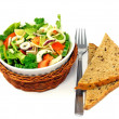 Mixed salad with bread — Stock Photo