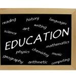 Educational subjects / words on blackboard — ストック写真