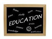 Educational subjects / words on blackboard — Stock Photo