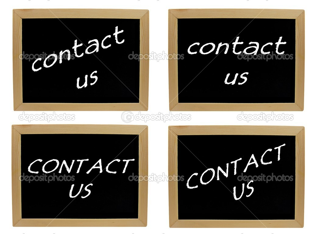 A selection of 4 images with Contact Us on a blackboard — Stock Photo #5043239