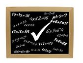 Simple mathematics on blackboard — Stock Photo