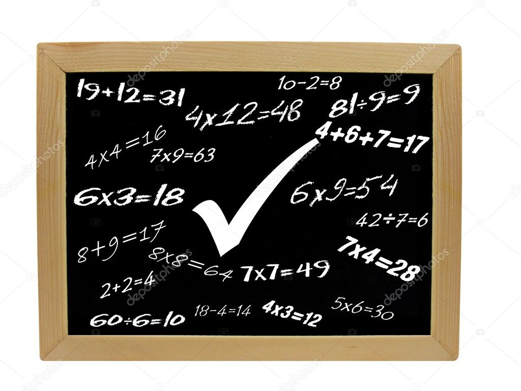 Various mathematical sums on a wooden frame blackboard — Stock Photo #5110744